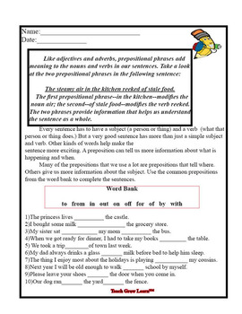 Adverbs and Prepositional Phrases