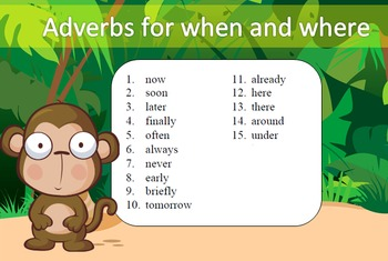 Adverbs for when and where Word Work Packet–15 words, no p