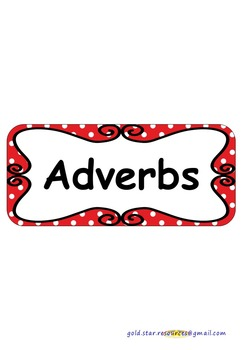 Adverbs on Red Polka Dots for Display