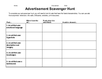Advertisement Scavenger Hunt