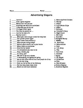 Worksheets Advertising Slogans Worksheet advertising slogan quiz matching business by mr entrepreneursh