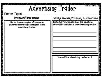 Advertising Trailer Book Report Form Planning Graphic Organizer