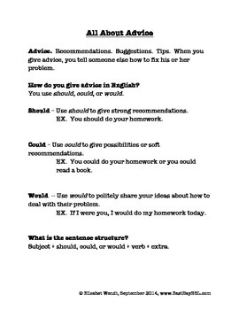 Advice Column:  Could, Should, and Would for ESL Students