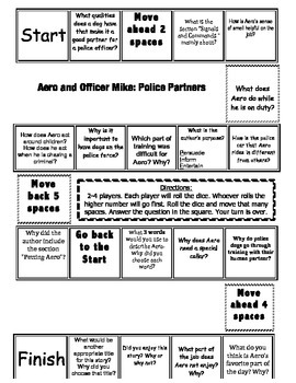 """Aero and Officer Mike"" Comprehension Game Board- Journeys"