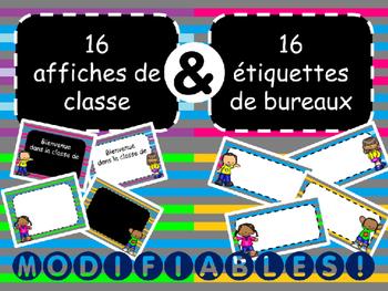 Affiches de classe et étiquettes de bureaux