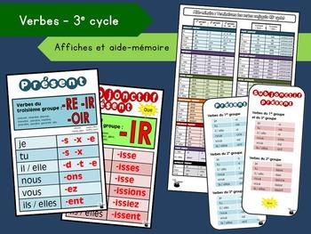 Affiches et aide-mémoire – Terminaisons des verbes (3e cyc