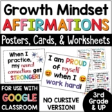 Affirmations: Growth Mindset Posters and Cards (NONCURSIVE