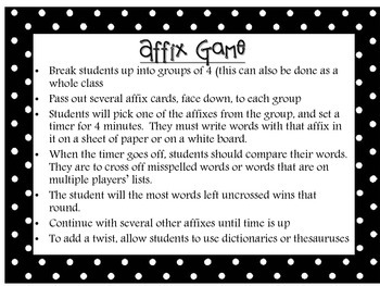Affix Review Game