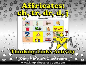 Affricates Thinking Links - ch, tr, dr, d, j - Word Study