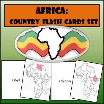 Africa: Country Flash Cards Set - Shaded or Non-Shaded wit