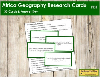 Africa Geography Research Cards (color borders)