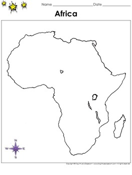 Africa Map - Blank - Full Page - Continent - Portrait - Ki