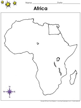 Africa Map - Egypt - Blank - Full Page - Continent - Portr