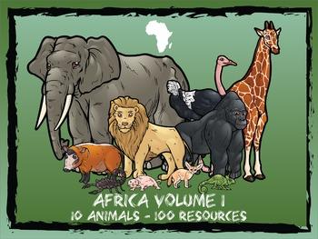 Africa Volume 1 -- 10 Wild Animals -- 100 K-2 Resources