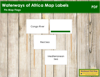 Africa Waterways Map Labels - Pin Map Flags (color-coded)