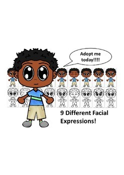 African American Boy with a Blue Shirt and Nine Different