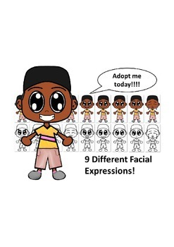 African American Boy with a Gold Shirt and Nine Different