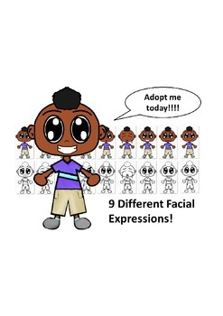African American Boy with a Purple Shirt and Nine Differen