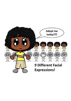African American Boy with a Yellow Shirt and Nine Differen