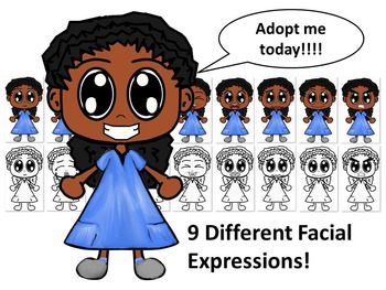 African American Girl in Blue Dress with Nine Different Fa