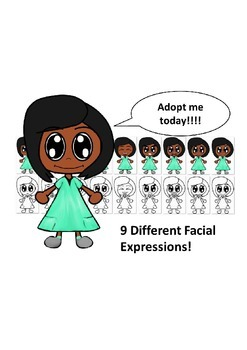 African American Girl in Teal Dress with Nine Different Fa