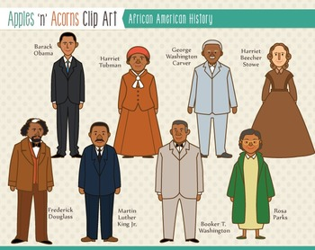 African American History Clip Art - color and outlines