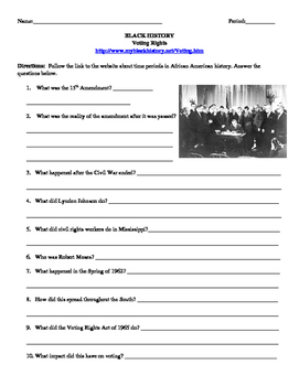 African American Studies 18 Internet Assignment Voting Rights