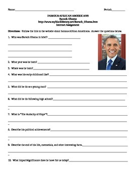 African American Studies Internet Assignment Barack Obama