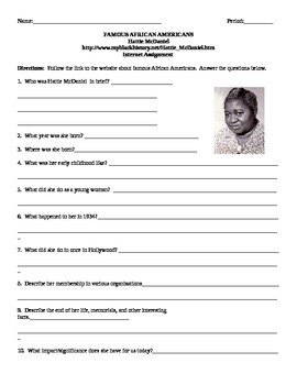 African American Studies Internet Assignment Hattie McDaniel