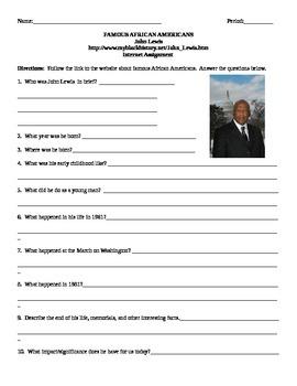 African American Studies Internet Assignment John Lewis