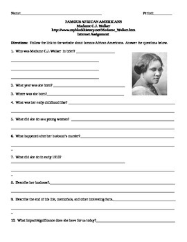 African American Studies Internet Assignment Madame CJ Walker