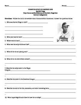 African American Studies Internet Assignment Satchel Paige