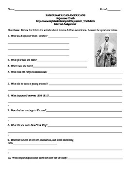 African American Studies Internet Assignment Sojourner Truth