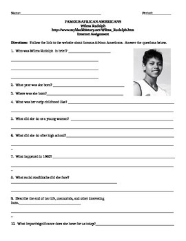 African American Studies Internet Assignment Wilma Rudolph