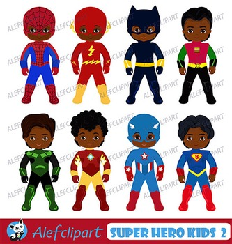 African American Superboy Clipart, Superhero Kids Costumes