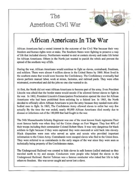 Civil War - African Americans In The War Content Sheet, Wo