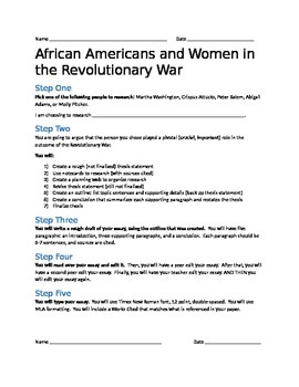 African Americans and Women in the Revolutionary War