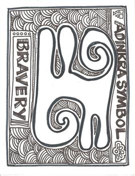 African Adinkra Symbol Bravery Coloring Sheet