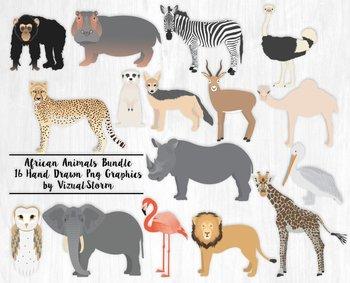 African Animal Clipart Bundle, 16 Hand Drawn Zoo Animal Il