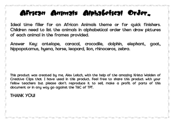 African Animals Alphabetical order