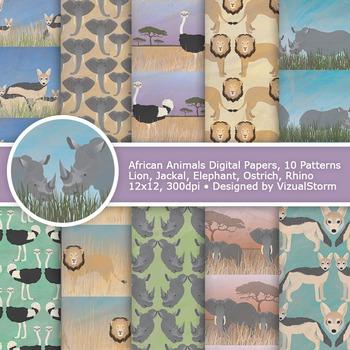 African Animals Digital Paper, 10 Printable Safari Wildlif