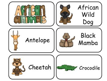 African Animals Picture Word Flash Cards. Preschool flash