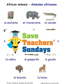 African Animals in Spanish Worksheets, Games, Activities a