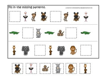African Animals themed Fill in the Missing Pattern prescho