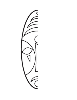 African Mask Mirror Image Drawing