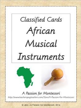 African Musical Instruments, Montessori Three part cards,