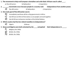 African Nationalism & Pan-Africanism Assessment