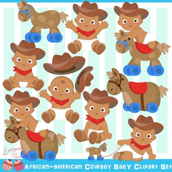 African-american Cowboy Baby Clipart Set