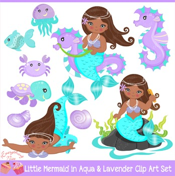 African-american Little Mermaids Mermaid in Aqua & Purple