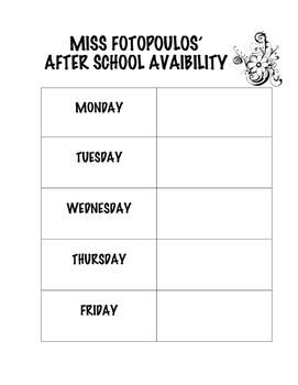 After School Availability Sheet